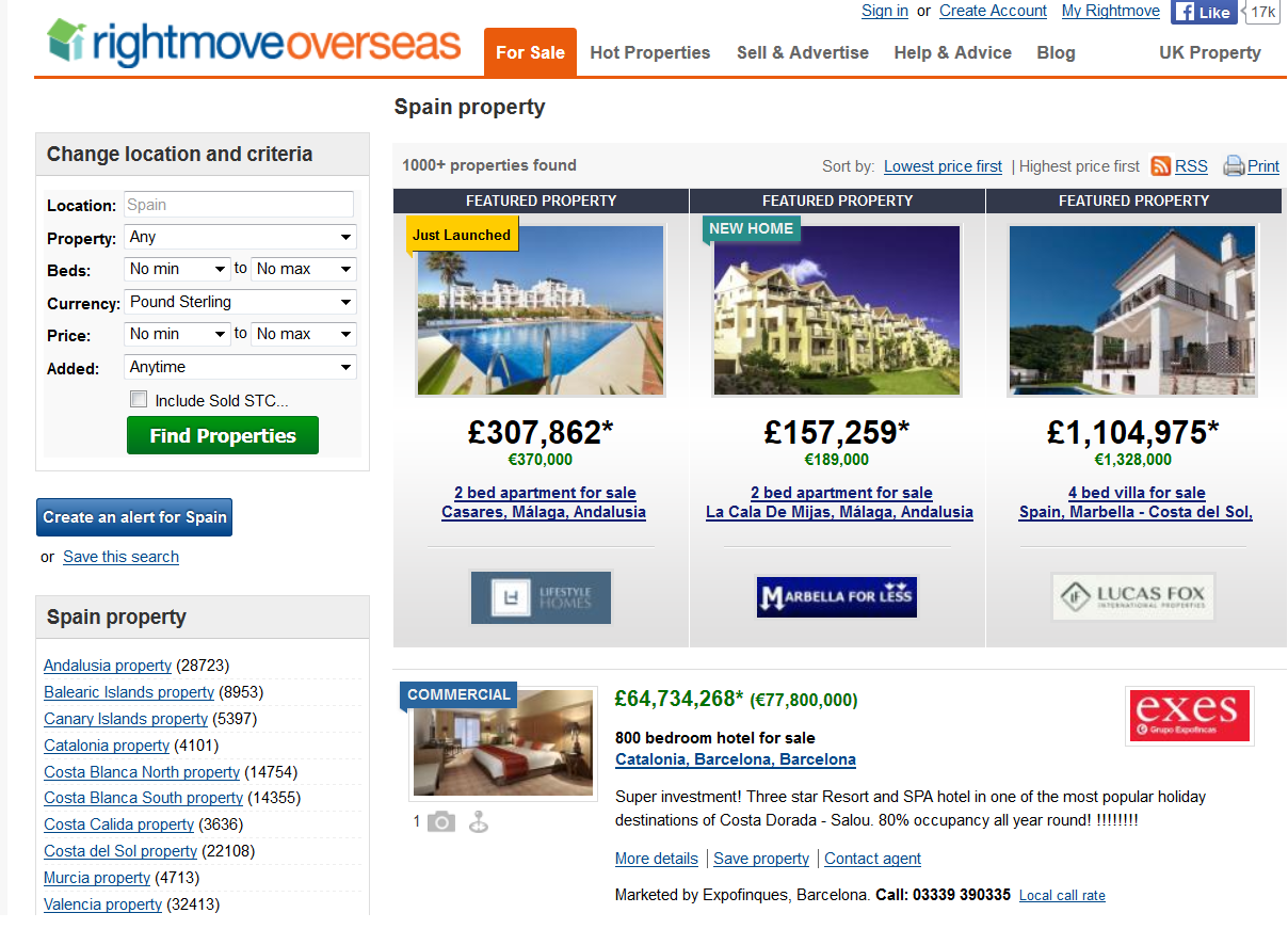 Captura de pantalla de búsqueda en rightmove overseas.